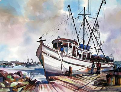 Shrimp Boat Painting - Shrimper At Rest by Pat Thomas