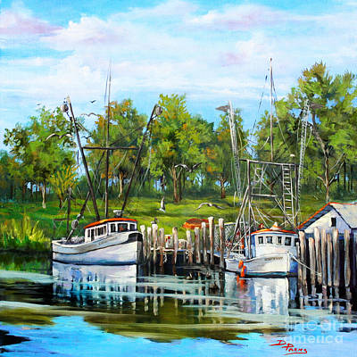 Louisiana Artist Painting - Shrimping Boats by Dianne Parks