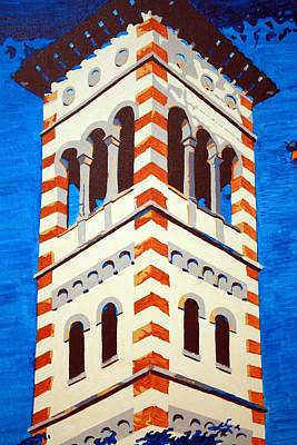Church Pillars Painting - Shrine Bell Tower Detail by Sheri Parris