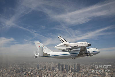 Shuttle Flying Over The City Of Los Angeles Print by Pd