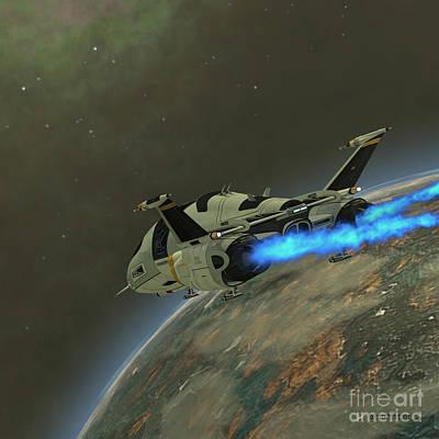 Jet Star Digital Art - Shuttlestar Transport by Corey Ford