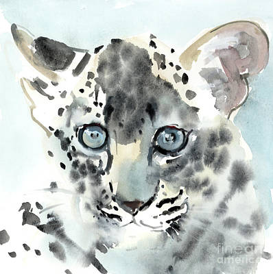 Leopard Drawing - Shy by Mark Adlington