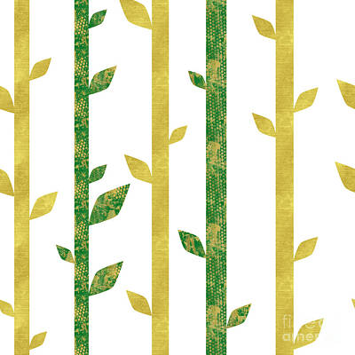 Siam, Abstract Bamboo Pattern, Gold Glitter, Dark Green Print by Tina Lavoie