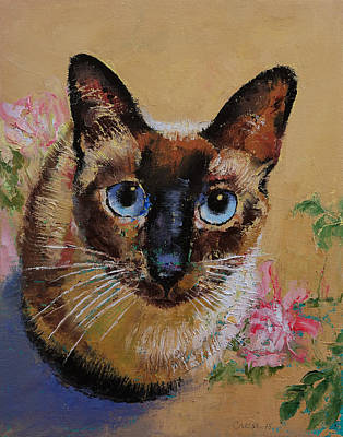 Realist Painting - Siamese Cat by Michael Creese