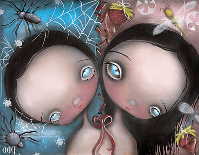 Spider Painting - Siamese Twins by  Abril Andrade Griffith