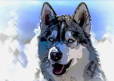 Siberian Husky Print by Alexey Bazhan