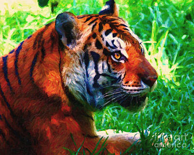 Adorable Digital Art - Siberian Tiger . Photoart by Wingsdomain Art and Photography