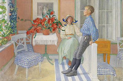 Carl Larsson Drawing - Siblings by Carl Larsson