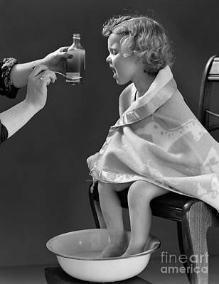 Sick Girl Taking Medicine, C.1940s Print by H. Armstrong Roberts/ClassicStock