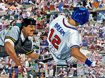 Major League Baseball Painting - Sid Bream Slide by Michael Lee
