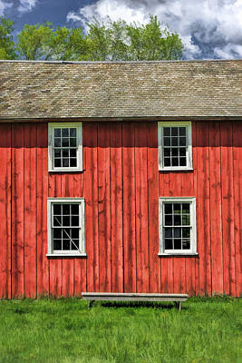 Window Bench Painting - Side Of Barn And Windows At Old World Wisconsin by Christopher Arndt