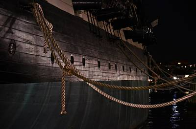 Side Of The Uss Constellation Navy Ship In Baltimore Harbor Print by Marianna Mills