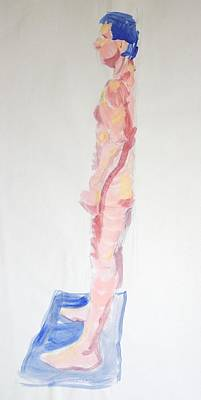 Back To Life Drawing - Side View Of Male Nude Standing With Back Against Wall by Mike Jory