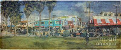 Sidewalk Cafe Venice Ca Panorama  Print by David Zanzinger