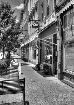 Indiana Scenes Photograph - Sidewalk Scenes Bw by Mel Steinhauer