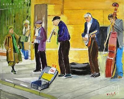 Figurative Painting - Sidewalk Serenade by Judy Kay