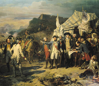 Uniforms Painting - Siege Of Yorktown by Louis Charles Auguste  Couder