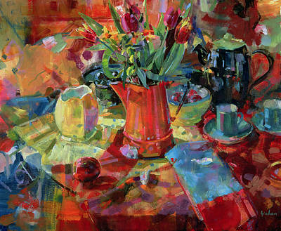 Teapot Painting - Sienna Bouquet by Peter Graham