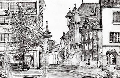Pen And Ink Tree Drawing - Sierre, Switzerland by Vincent Alexander Booth