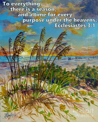 With Scripture Painting - Siesta Beach Sunset Dunes With Scripture by Lou Ann Bagnall