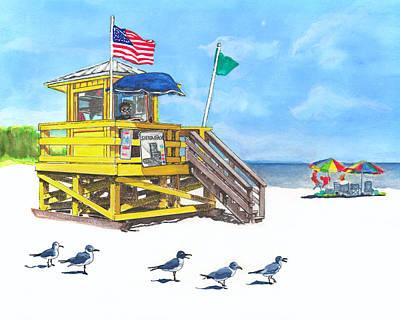 Siesta Key Beach Life Guard Stand Print by Warren Day