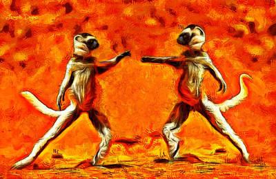 Cat Painting - Sifaka Dancers - Pa by Leonardo Digenio