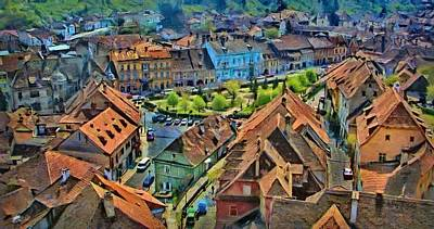 Painting - Sighisoara From Above by Jeff Kolker