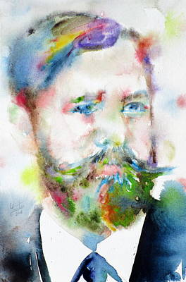 Sigmund Freud - Watercolor Portrait.10 Original by Fabrizio Cassetta