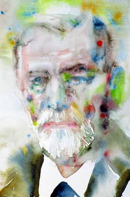 Freud Painting - Sigmund Freud - Watercolor Portrait.11 by Fabrizio Cassetta