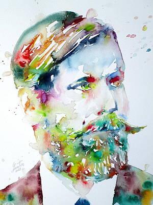 Freud Painting - Sigmund Freud - Watercolor Portrait.4 by Fabrizio Cassetta