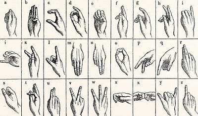 Sign Language Alphabet Print by Unknown