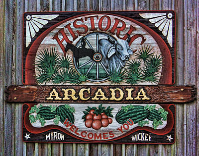 Sign - Welcome To Arcadia Print by HH Photography of Florida