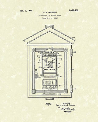 Alarm Drawing - Signal Box 1924 Patent Art by Prior Art Design