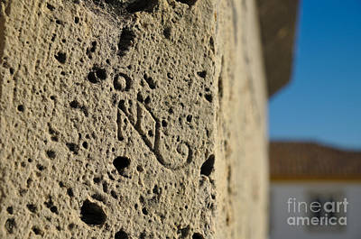 Signature Engraved On A Medieval Portal. Portugal Print by Angelo DeVal