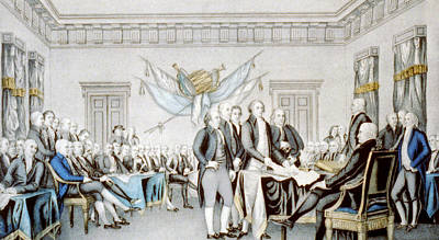 Philadelphia Drawing - Signing The Declaration Of Independence by American School