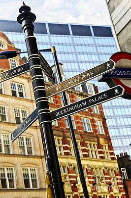 Signpost In London Print by Elena Elisseeva