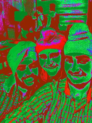Hangout Digital Art - Sikh Boys In Quirky Colours by Jagjeet Kaur