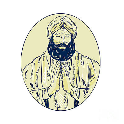 Sikh Priest Praying Front Oval Etching Print by Aloysius Patrimonio