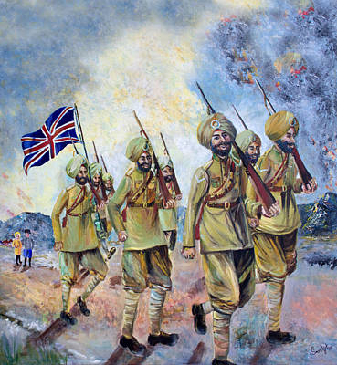 Sikh Soldiers In France Ww1 Original by Sarabjit Singh