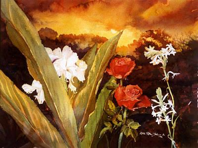 Silence-flowers Sleeping Print by Estela Robles
