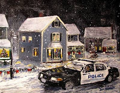 Police Christmas Card Painting - Silent Knight by Jack Skinner