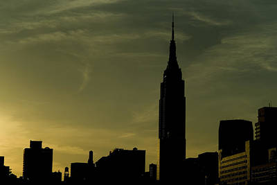 Silhouette Of Empire State Building Print by Todd Gipstein