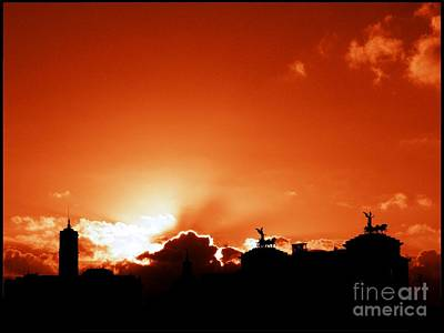 Silhouette Of Rome Against A Sunset Sky Print by Stefano Senise