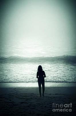 Silhouette On The Beach Print by Carlos Caetano