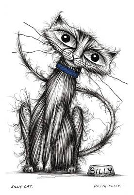 Moggy Drawing - Silly Cat by Keith Mills