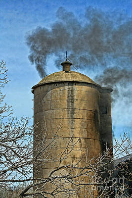 Fireground Photograph - Silo Fire Venting by Tommy Anderson