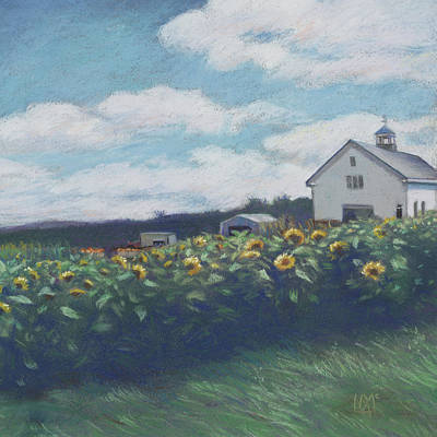 Silsby Farm Sunflowers Print by Leslie Alfred McGrath