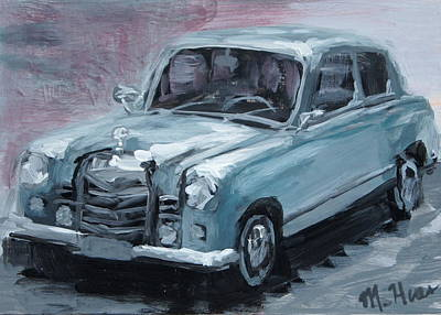 Scoop Painting - Silver Car by Mary Haas
