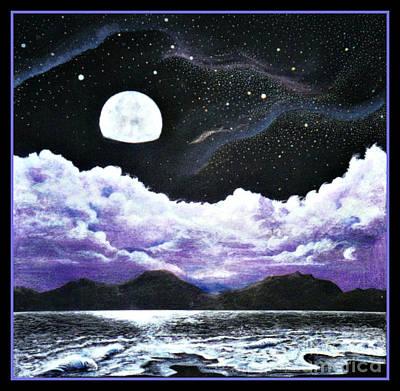 New Moon Drawing - Silver Lake by David Neace