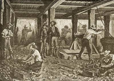 London Tube Drawing - Silver Mining In Nevada In 1870s. From by Vintage Design Pics